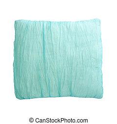 azul, almohada, aislado, en, el, fondo blanco, con, ruta de recorte