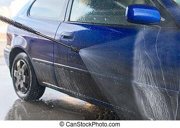 azul, alto, jato., pressão, car, água, lavagem, usando