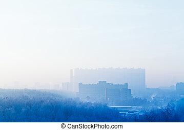 azul, amanhecer, céu, sobre, cidade, em, gelado, inverno