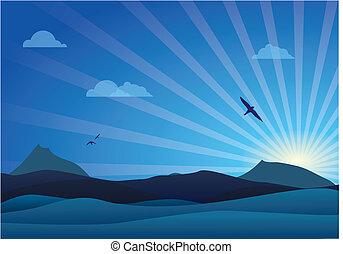 azul, amanhecer, paisagem