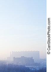 azul, amanhecer, sobre, urbano, casas, em, gelado, inverno