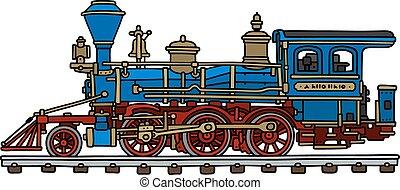 azul, americano, antigas, vapor, locomotiva