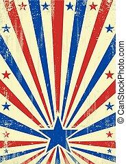 azul, americano, estrela, fundo