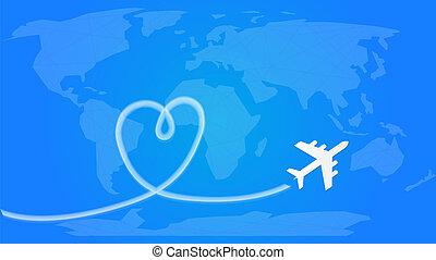 azul, amor, dado forma, viagem, voando, feito à mão, partindo, rastro, atrás de, fumaça, avião, sky., concept.