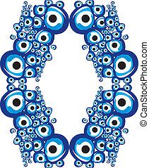 azul, amuleto, linha, vetorial, arte