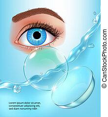 azul, anúncio, cartaz, marca, ilustração, contato, água, realístico, esguichos, vetorial, lentes, fundo, olho, identidade