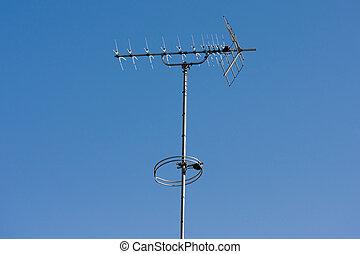 azul, antena aérea de tv, plano de fondo, cielo