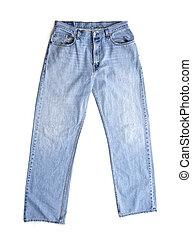 azul, antigas, branca, calças brim