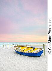 azul, antigas, madeira, amarela, pôr do sol, praia branca, bote