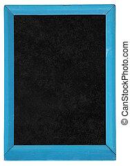 azul, antigas, madeira, quadro-negro, quadro, isolado, white.