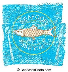 azul, antigas, menu restaurante, marisco, papel, fundo, vindima