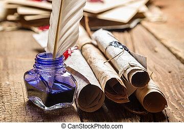 azul, antigas, scrolls, inkwell, closeup, tinta