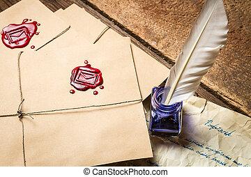 azul, antigas, vindima, envelope, escrito, closeup, letra, tinta