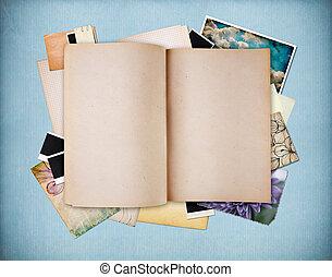 azul, antigas, vindima, textured, papel agenda, em branco