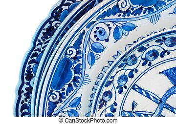 azul, antiguo, genuino, porcelana, dishware, holandés,...