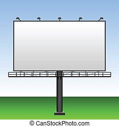 azul, ao ar livre, céu grande, anunciando, em branco, billboard, behind.