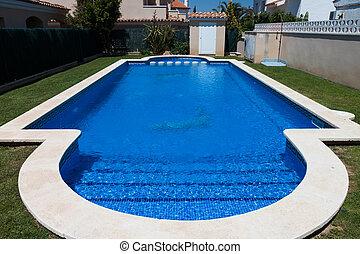 azul, ao ar livre, vila, piscina