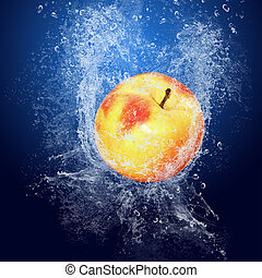 azul, ao redor, água, fundo, frutas, gotas