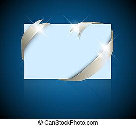 azul, ao redor, casório, -, prata, ou, cartão papel, em branco, natal, fita