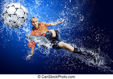 azul, ao redor, futebol, água, jogador, fundo, sob, gotas