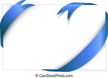 azul, ao redor, papel, em branco, fita branca