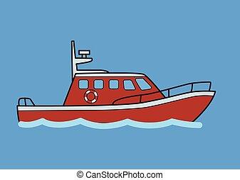 azul, apartamento, boat., isolado, experiência., vetorial, rebocador, rescuer, illustration.
