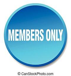 azul, apartamento, botão, isolado, só, membros, empurrão, ...