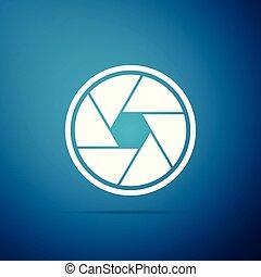 azul, apartamento, câmera, isolado, ilustração, veneziana, experiência., vetorial, ícone, design.