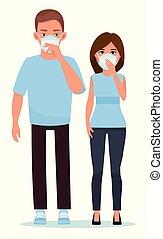 azul, apartamento, cabeças, illustration., junto, par, máscaras, rosto, experiência., vetorial, contra, branca, caricatura