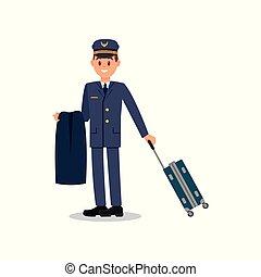 azul, apartamento, civil, trabalhador, jovem, isolado, casaco, cap., vetorial, aviation., segurando, paleto, desenho, suitcase., capitão, piloto