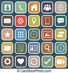 azul, apartamento, contato, fundo, ícones