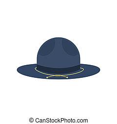 azul, apartamento, estilo, boiadeiro, ícone, chapéu