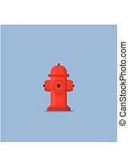 azul, apartamento, estilo, hidrante, fogo, bombeiro, isolado, ilustração, experiência., vetorial, extinguir, vermelho, ícone