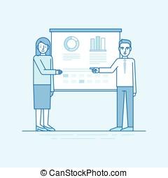 azul, apartamento, estilo, linear, negócio, -, ilustração, conferência, cores, vetorial
