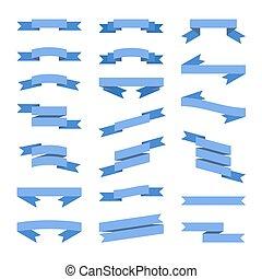 azul, apartamento, estilo, set., vetorial, bandeiras, fitas