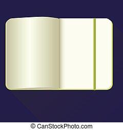 azul, apartamento, experiência., caderno, abertos, style., ícone