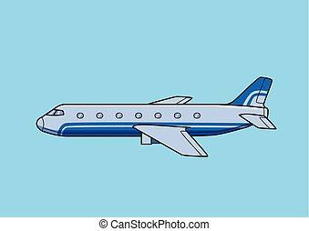 azul, apartamento, illustration., experiência., airliner, aeronave, comercial, isolado, avião., vetorial