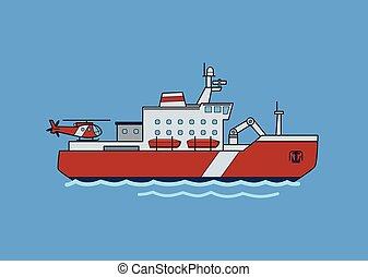 azul, apartamento, illustration., experiência., isolado, ship., vetorial, icebreaker