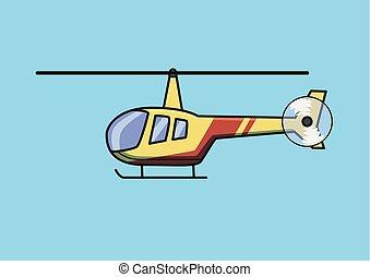 azul, apartamento, illustration., luz, isolado, experiência., vetorial, chopper, aircraft., helicóptero