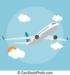 azul, apartamento, ilustração, experiência., vetorial, avião, ícone