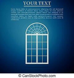 azul, apartamento, isolado, ilustração, experiência., janela, vetorial, ícone, design.