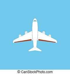 azul, apartamento, -, isolado, ilustração, experiência., vetorial, avião, ícone