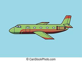 azul, apartamento, jato negócio, aeronave, isolado, avião., vetorial, experiência verde, illustration.