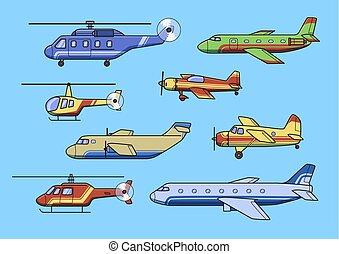 azul, apartamento, jogo, illustration., experiência., aviões, isolado, aeronaves, vetorial, helicopters.