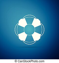 azul, apartamento, lifebelt, lifebuoy, símbolo., ilustração, isolado, experiência., vetorial, ícone, design.