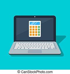 azul, apartamento, machine., calculando, calculadora, screen., ilustração, isolado, experiência., vetorial, laptop, ícone