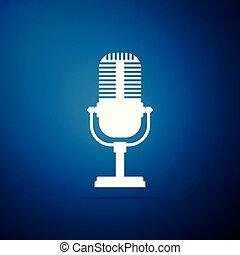 azul, apartamento, microfone, isolado, ilustração, experiência., vetorial, ícone, design.