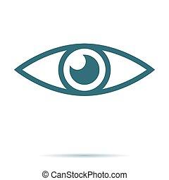 azul, apartamento, olho, símbolo, isolado, experiência., modo, vector., internet, trendy, branca, concept., visão, ícone