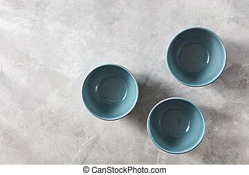 azul, apartamento, pedra, chinês, cinzento, três, tigelas, mão, experiência., configuração, crafted