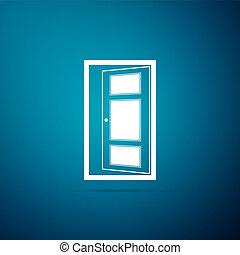 azul, apartamento, porta, isolado, ilustração, experiência., vetorial, ícone, abertos, design.
